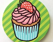 Strawberry Cupcake Stripe Painting on Round Canvas (5 x 5 in)