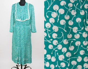 1930s Dress // Cherry Novelty Print Green Cotton Day Dress