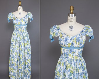 1940s Dress // Blue Clematis Flowers with Chartreuse Leaves Floor Length Cotton Dress