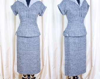 1950s Dress Set // Angora Collar Grey Mottled Wool Wiggle Blouse and Skirt Set