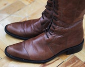SALE - Vintage Brown Lace Up Pointed Toe Boots, Size 38