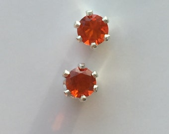 Mexican Fire Opal & Sterling Silver Solitaire Stud Earrings-FREE SHIPPING