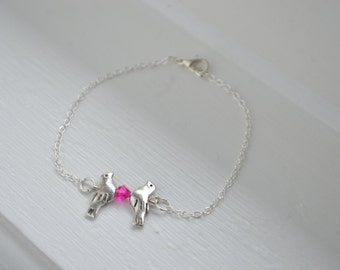 Silver Doves Bracelet - Sterling Silver or Silver Tone Chain - Ready for gift - Swarovski Pink Crystal