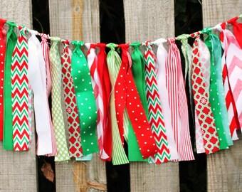 Christmas Garland, Fabric Scrap Banner, Christmas Decor, Holiday Photo Prop