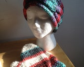 Knit Earwarmer and Mittens Striped