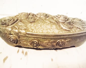 Vintage spelter jewelry box presentation casket style red lining roses shabby elegant
