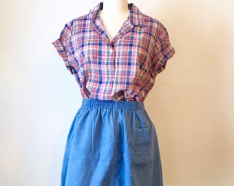 SALE Vintage Plaid Short Sleeve Shirt
