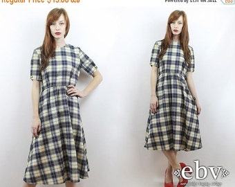 Vintage 80s Plaid Midi Dress L Vintage Plaid Dress Navy Plaid Dress Plaid Day Dress