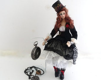 Steampunk Cloth Art Doll posable Victorian Goth girl soft sculpture Night Rose