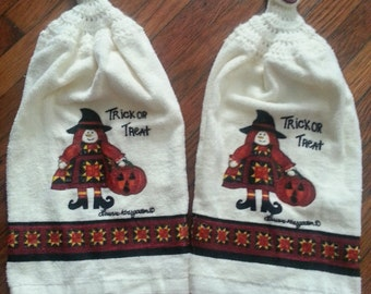 Trick or Treat Witch Halloween KITCHEN TOWELS with Cream Crochet Top