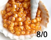 TOHO Seed beads, size 8/0, Inside Color Jonquil Burnt Orange Lined, N 950, yellow rocailles - 10g - S845