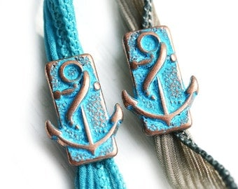 Anchor Patina Metal Slider beads for leather cord, Blue Patina on Copper, Flat leather, ribbon, Regaliz - 2pc - F466