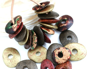 Earthy Beads mix in Red, Brown, Fall colors, greek Ceramic Cornflake beads, for leather cord, washer, 16mm, 12pc - 2319