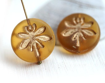 Dragonfly beads, Amber yellow with Gold czech glass pressed beads, golden Dragonflies ornament, coin shape - 18mm - 2Pc - 1204