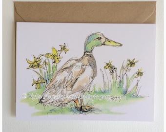 Fine Art Greeting Card, Spring, Duck, Daffodil, Garden, Contemporary Landscape, Figurative Kylie Fogarty, Blank Greeting Card