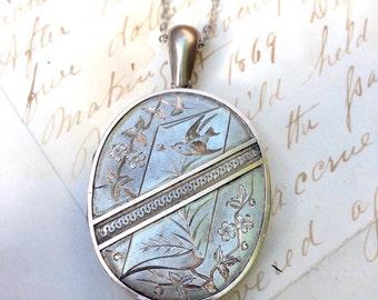 Victorian Large Soaring Swallows Locket