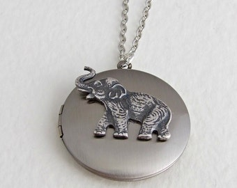 Elephant Locket .. animal locket, elephant necklace, silver locket, elephant jewellery