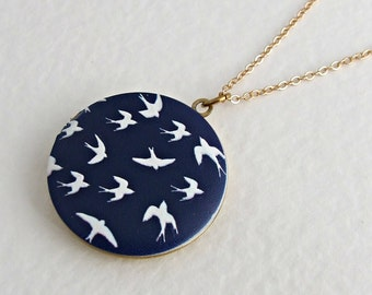Swallow Locket ..  navy blue necklace, bird locket, blue locket