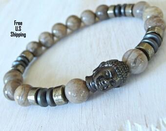 Men's Silver Leaf, Pyrite, Hematite, buddha bracelet, Reiki charged, wrist mala, mens bracelet, mens buddha bracelet, mens pyrite, tribal