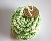 SHOP CLOSING SALE Flower Face Scrubby Set . Set of 3 . Crochet . 100 Percent Cotton . Pastel Green