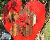 Corrugated tin Rusty red heart and flower