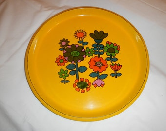 SOLD--------- Retro Yellow Flower Serving Plates (2)