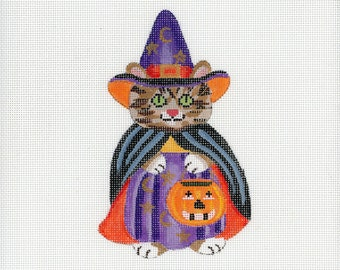Handpainted Needlepoint Kitty Witch Canvas - black, orange, brown, purple - Halloween Needlepoint - Tabby Cat in Witch Costume