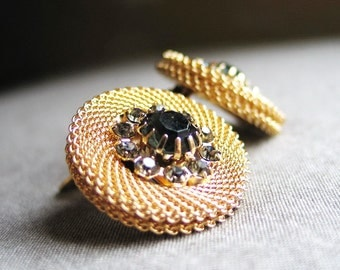 Vintage 1970s Circular Gold Mesh Earrings with Pewter Gray Rhinestone Centers