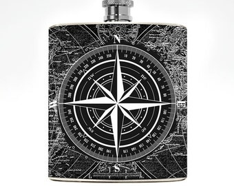 Compass Flask Nautical Wanderlust Guys Drinking Gifts Womens Liquor Groomsmen Pirate Hip Flask Wedding Personalized Travel Gifts