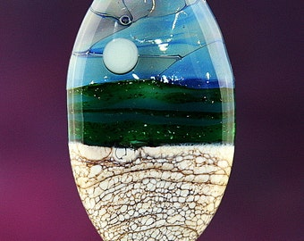 Cloudy Evening Handmade Lampworked Glass Bead OOAK Pressed Shield Focal Ivory Sandstone Silver Blue Green Lampwork