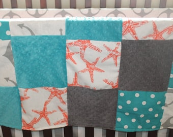 Gray Anchors, Coral Starfish, Turquoise Dot, Teal Minky, and Gray Minky Patchwork Blanket