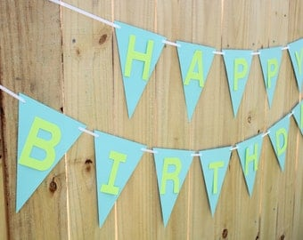 Happy Birthday Banner- PICK YOUR COLORS, birthday party decor, flag banner, custom banner