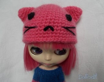 Handmade cat hat for blythe,but available for pullip, momoko,fashion royalty, barbie, bjd...