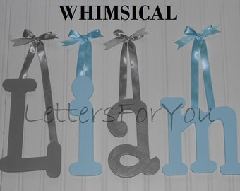 """SALE :) 8"""" Size Painted Wooden Wall Letters, Whimsical plus Various other Fonts, Gifts and Decor for Nursery, Home, Playrooms, Dorms"""