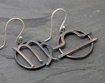Virgo libra cusp zodiac earrings oxidised copper