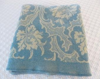 Vintage Turquoise Blue Cream Reversible Wool Blanket - Bridal Blanket Wool Blanket