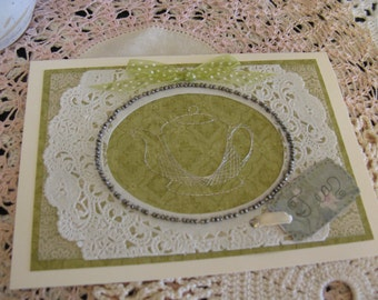 Beaded Stitched Teapot Card