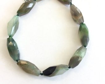 green multi elongate Natural agate Gemstone Beads# 2026