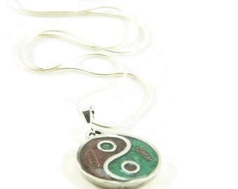 Orgone Energy Small Yin-Yang Pendant Necklace in Garnet and Malachite with Sterling Silver Chain - Artisan Jewelry