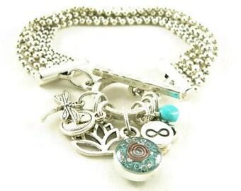 Orgone Energy Multi Strand Zen Charm Bracelet in Antique Silver with Turquoise-Meditation Bracelet-Orgone Energy Jewelry-Artisan Jewelry