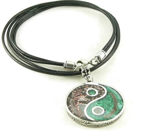 Orgone Energy Pendant Necklace - Large Yin-Yang Pendant with Leather Cord Necklace - Garnet and Malachite - Orgone Jewelry - Artisan Jewelry