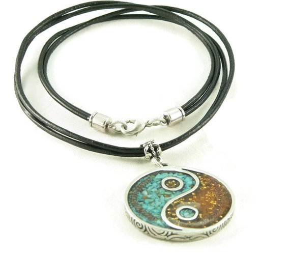 Orgone Energy Pendant Necklace - Large Yin-Yang Pendant with Leather Cord Necklace - Turquoise and Carnelian - Artisan Jewelry