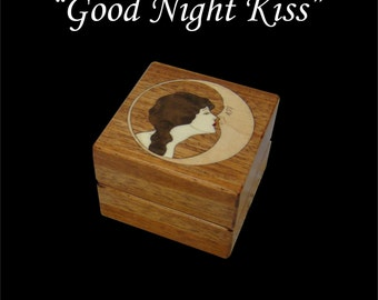 Inlaid Engagement ring box, Goodnight Kiss.  Free shipping and engraving RB58