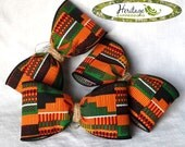 """Various Sets of Large KENTE BOWS with Braided Natural Jute Centers - Includes Gold Wire for Attachment - 4.5""""x2.5"""" Approx. - Made to order!"""
