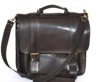 Ready to ship Extra large leather messenger / Backpack / Satchel / Laptop Bag / Women/Men dark brown leather backpack