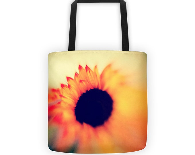 Vibrant Orange Sunflower Tote for Eco Shopping and School and Sundry