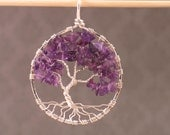 Amethyst and Sterling Silver Tree of Life Pendant MADE TO ORDER