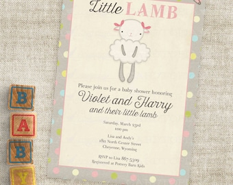 LittleLamb Baby Shower Invitations Baby Girl Lamb with Pink Bows Custom Invites with Professional Printing Option