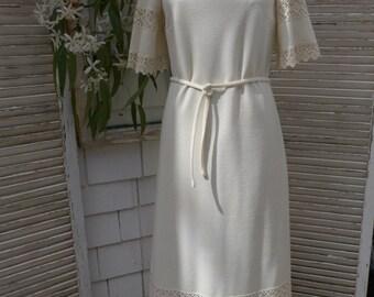 SALE Boho Vintage Wedding Dress Cream Maxi Dress Butte Knit Casual Wedding Summer Beach Boho 70s Dress
