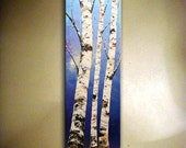 Birch Tree PAINTING Original Landscape Painting Palette Knife Impasto Heavy Textured Birch Tree Painting.Wall Hanging,Home Decor  by Nata S.